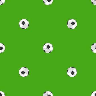 Футбольные мячи над зеленым полем бесшовные модели
