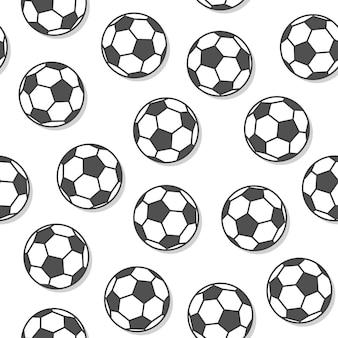 흰색 배경에 축구공 원활한 패턴입니다. 축구 아이콘 벡터 일러스트 레이 션