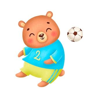 축구 곰 흰색 절연입니다. 축구 동물.