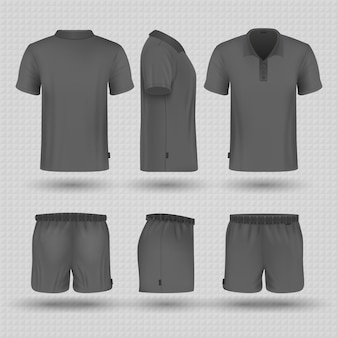 Soccer black sports uniform. male shorts and t-shirt front, side and back view mockup.