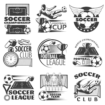 Soccer black white emblems of clubs and tournaments with sports equipment trophies players isolated