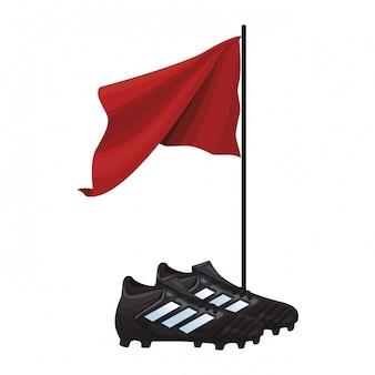 축구 부츠와 깃발