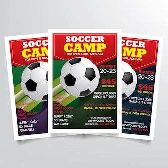 Soccer camp flyer tremplate vector