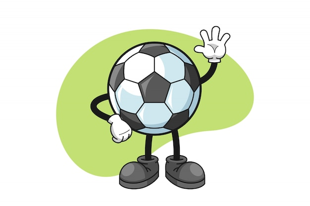 Soccer cartoon character with a wave hand gesture