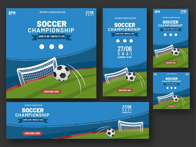 Soccer championship banner, poster and template design