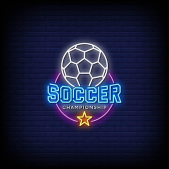 Soccer championship logo neon signs style text