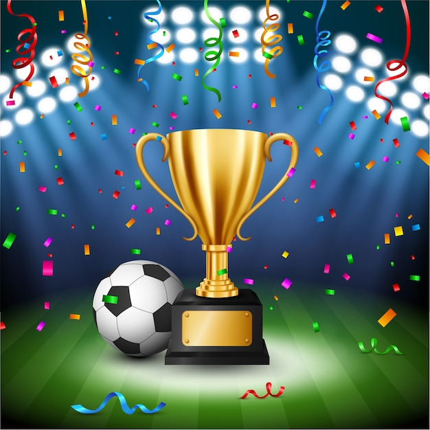 Soccer championship with golden trophy