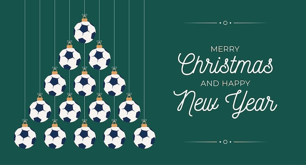 Soccer christmas and new year greeting card bauble tree. creative xmas tree made by football ball on black background for christmas and new year celebration. sport greeting card