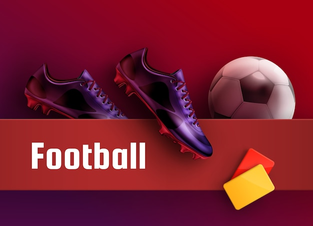 Soccer cleats purple boots with red and yellow cards and ball for football advertisement background. equipment for referee