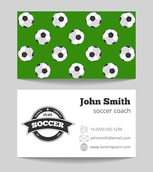 Soccer club business card both sides template
