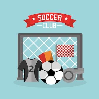 축구 클럽 목표 빨간 공 티셔츠 카드 호 각 아이콘