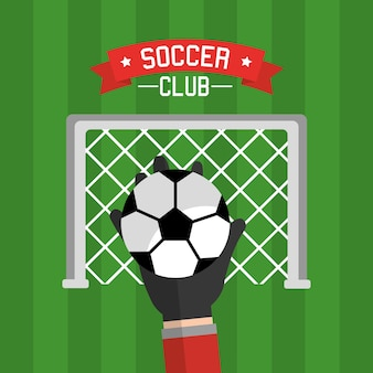 Soccer club hand goalkeeper ball and red