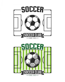 축구 클럽 로고 템플릿입니다. 벡터 스포츠 상징. 축구 필드