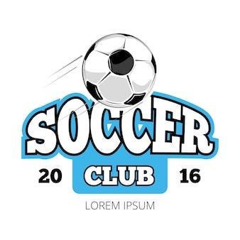 サッカークラブ、ベクトル、ロゴ、テンプレート、白、背景
