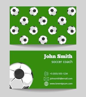 Футбольный тренер зеленого поля визитная карточка