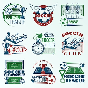 Soccer colored emblems with players sports equipment trophies referees objects