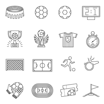 Soccer competition line icons.