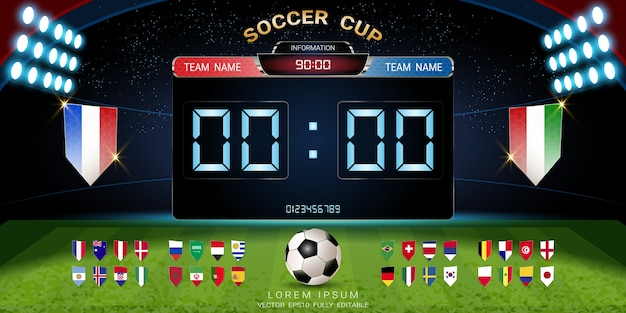 Soccer cup 2018 set of national flag with scoreboard broadcast