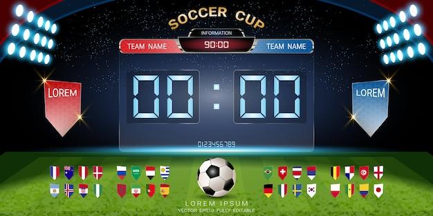 スコアボード放送でサッカーカップ2018セットの国旗