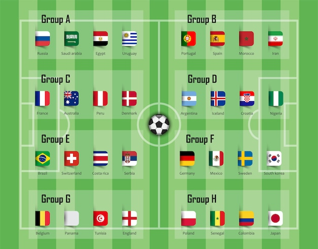 Soccer cup 2018 team group and national flags