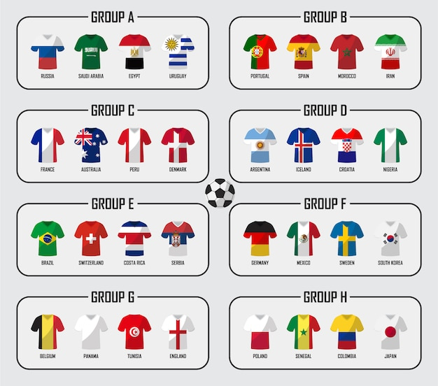 Soccer cup 2018 team group set. football players with jersey uniform and national flags