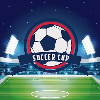 スタジアムの景色の背景にサッカーカップの紋章
