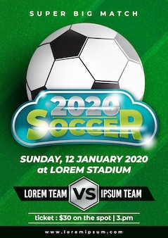 Soccer cup tournament poster template with trendy design