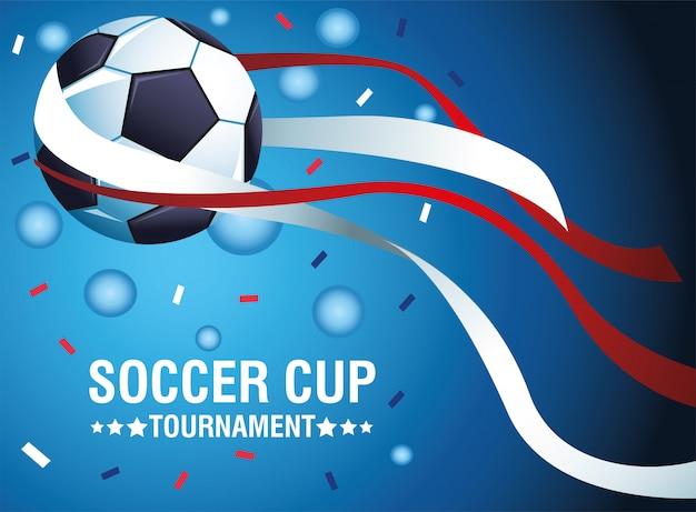 Плакат турнира футбольного кубка с дизайном иллюстрации вектора воздушного шара и конфетти