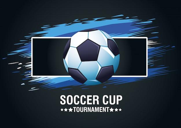 Плакат турнира футбольного кубка с дизайном иллюстрации вектора воздушного шара и литерности