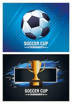 Плакат турнира футбольного кубка с дизайном иллюстрации вектора воздушного шара и трофея