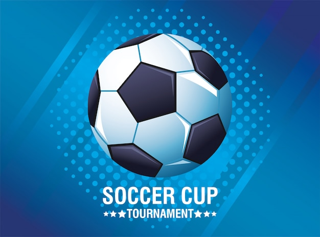 Soccer cup tournament poster with balloon and lettering vector illustration design