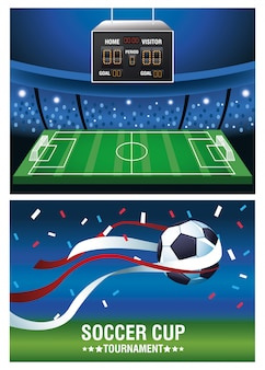 Soccer cup tournament poster with balloon and scoreboard vector illustration design