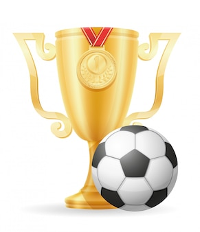 Soccer cup winner gold stock vector illustration