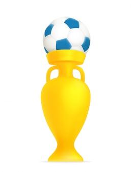 サッカーボールとサッカーカップ。勝者のコンセプト