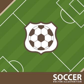 Soccer design over field  background  vector illustration