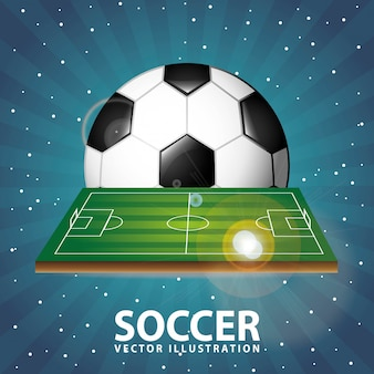 Soccer design over night background  vector illustration