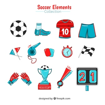 Soccer elements collection in hand drawn style