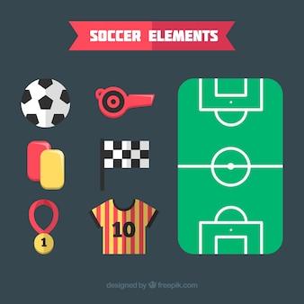 Collezione di elementi di calcio con attrezzature in stile piatto