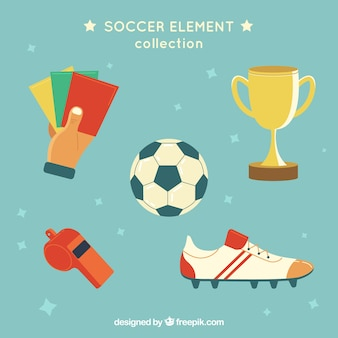 Soccer elements collection with equipment in flat style