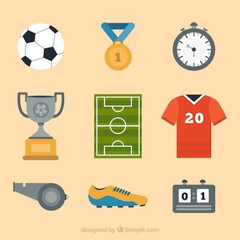 장비와 축구 요소 컬렉션