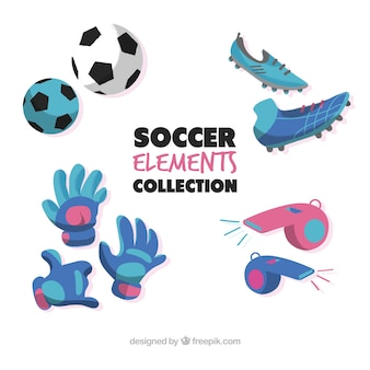 Soccer elements collection with equipment