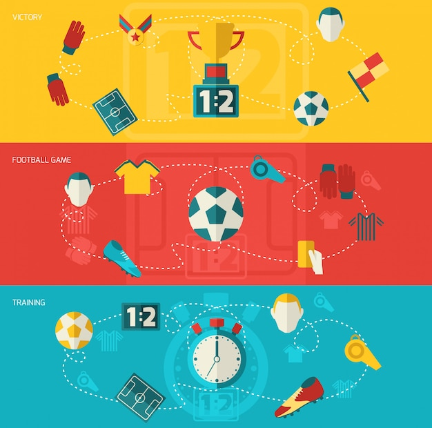 Soccer elements composition flat