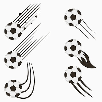 Soccer or european football flying balls set with speed motion trails graphic design for sports