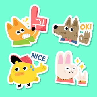 Soccer fan animal sticker collection