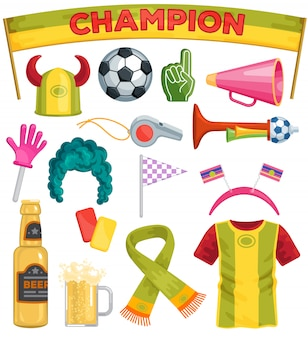Soccer fan set sportsfan football hand foam soccerball beer illustration set of footballing sportswear scarf hat on football-match isolated on white background