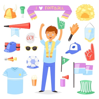 Soccer fan vector football character people with sports hand foam and soccerball illustration set of footballing sports fan people screaming on football-match isolated