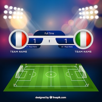 Soccer field background with scoreboard in realistic style