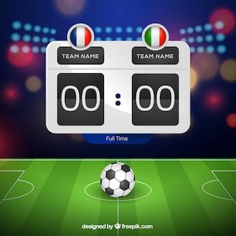 Soccer field background with scoreboard in realistic style