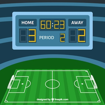 Soccer field background with scoreboard