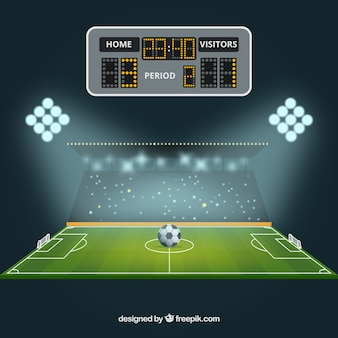 Soccer field background with scoreboard